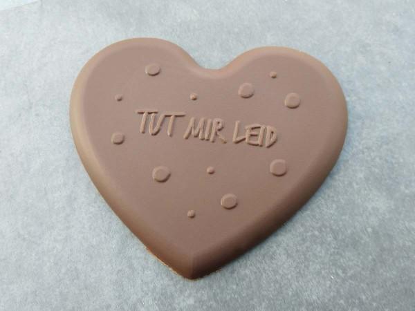 """Schokoladen Herz mit der Aufschrift """"Tut mir leid"""""""
