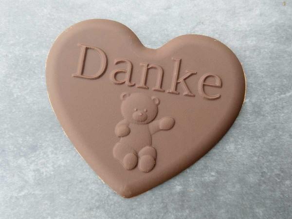 Schokoladenform Herz Danke mit Bär