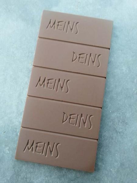 Schokoladentafel Meins und Deins