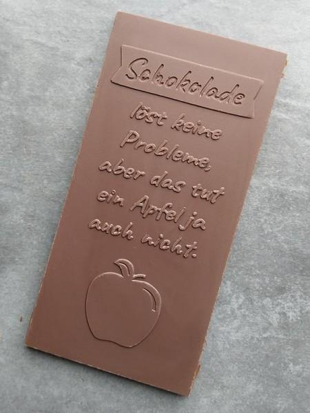 Schokoladentafel mit einem Spruch