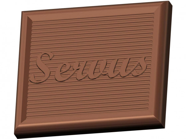 """Chocolate mold with the greeting """"Servus"""" for 6 cavities, mini tablet"""